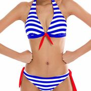 Polyester With chest pad without steel care swimsuit (Blue-XL) NHCC0082