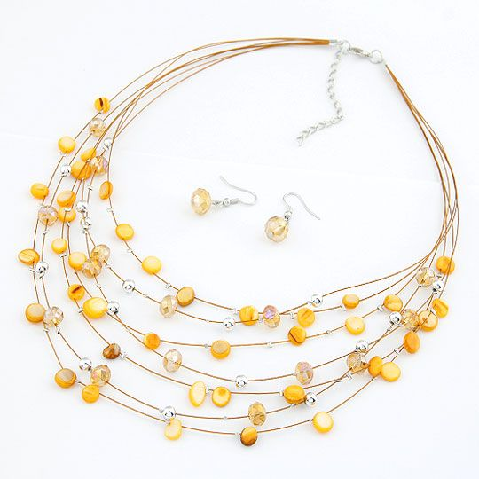 Elegant easy match shell imitated crystal multi-layer necklace  earrings ( set ) 210708