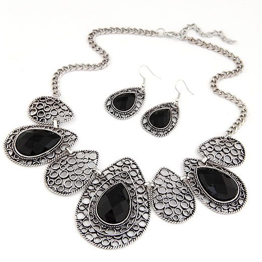 Classic hollow out tear drop embedded baroque necklace and earrings set ( black ) 215311