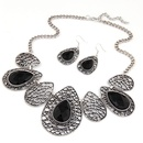 Classic hollow out tear drop embedded baroque necklace and earrings set  black  215311