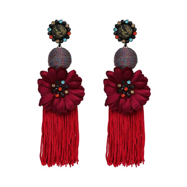 Alloy Fashion Flowers earring  (red) NHJJ4729-red
