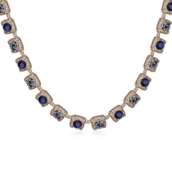 Charm Vintage Women Pendant Chain Imitated crystal Choker Chunky Collar Necklace FSN090 NHKL8945-C