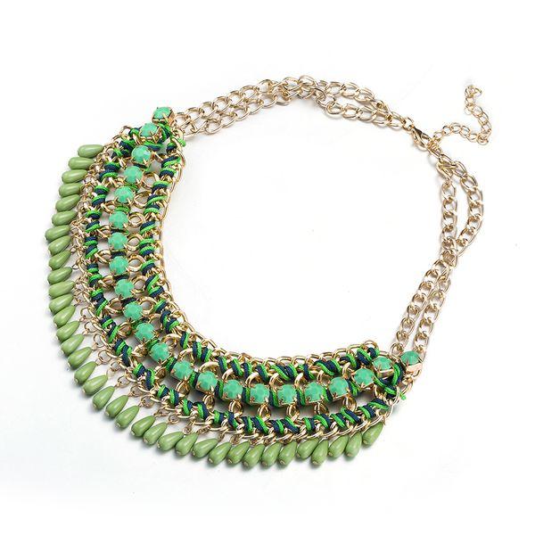 Charm Vintage Women Pendant Chain Imitated crystal Choker Chunky Collar Necklace FSN227 NHKL9056-D