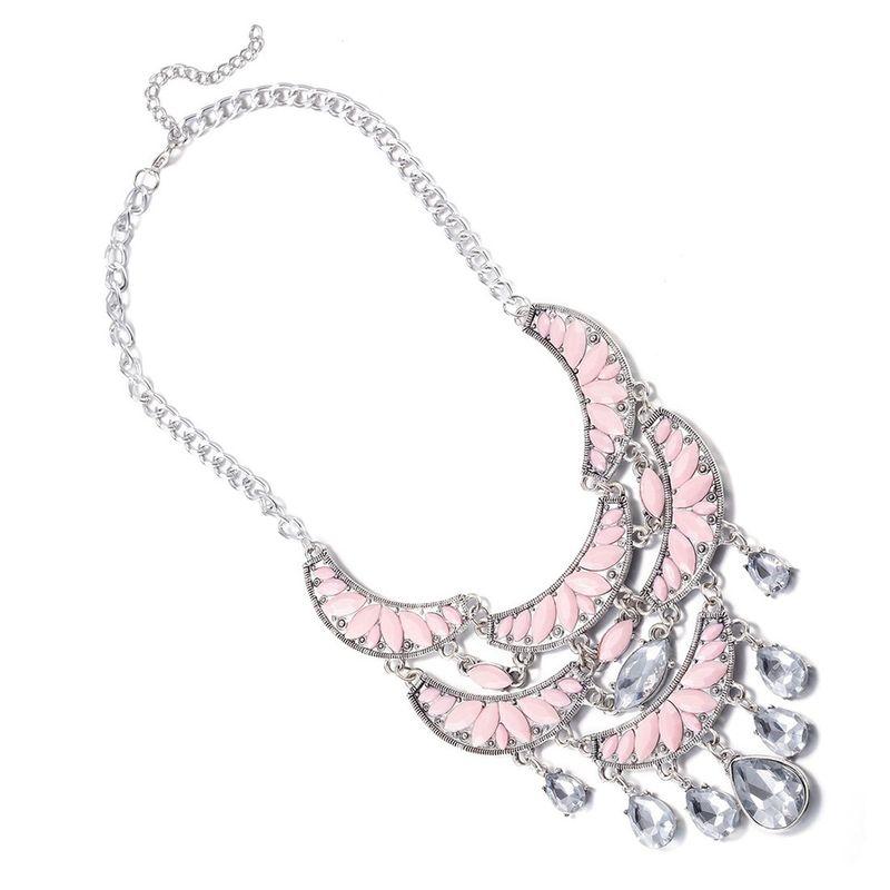 Fashion Women Jewelry Bib Imitated crystal Statement Pendant Chain Choker Collar Necklace FSN236 NHKL9065D