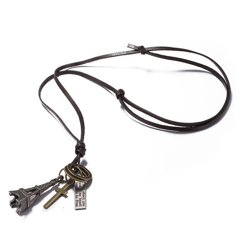 New Black Leather Cord Choker Charm Necklace Pendant Retro Hippy alloy FSN249 NHKL9077-B
