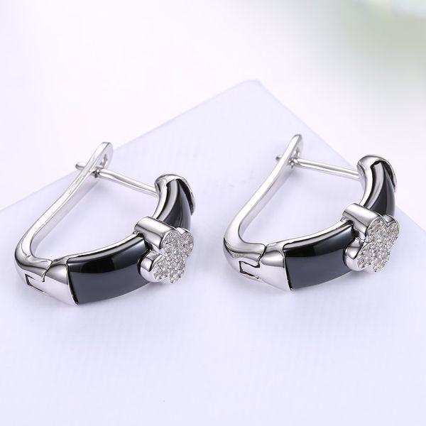 Platinum Plated  Stud Earrings NHKL12663-BK