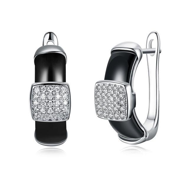 Platinum Plated  Stud Earrings NHKL12672-BK