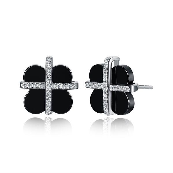 Platinum Plated  Stud Earrings NHKL12695-BK