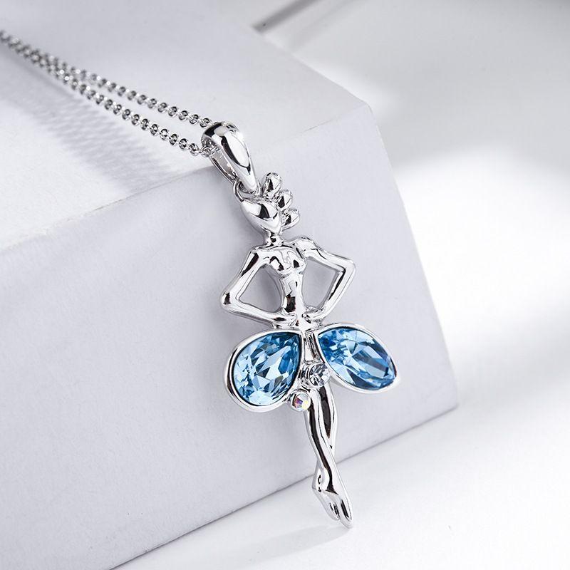 Collar geomtrico de aleacin de moda cristal imitado azul de aleacin NHLJ3967Cristal imitado azul de aleacin