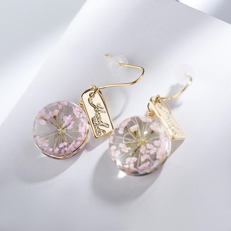 Alloy Simple Flowers earring  (Peach ear hook section) NHLJ3975-Peach-ear-hook-section