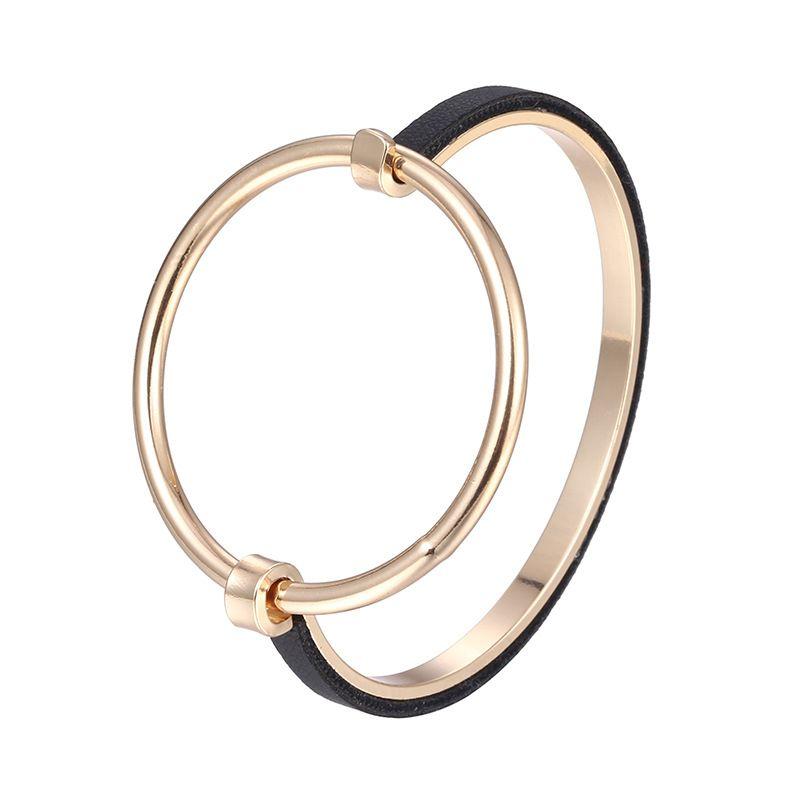 Alloy Simple Geometric bracelet  (Alloy + Black) NHTF0047-Alloy-Black