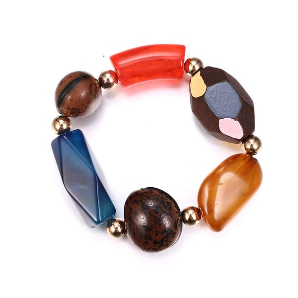 Plastic Fashion Geometric bracelet  (Alloy + color mixing) NHTF0068-Alloy-color-mixing