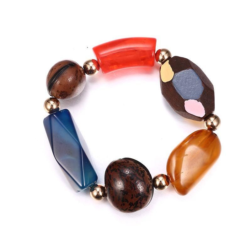 Plastic Fashion Geometric bracelet  (Alloy + color mixing) NHTF0068-Alloy-color-mixing