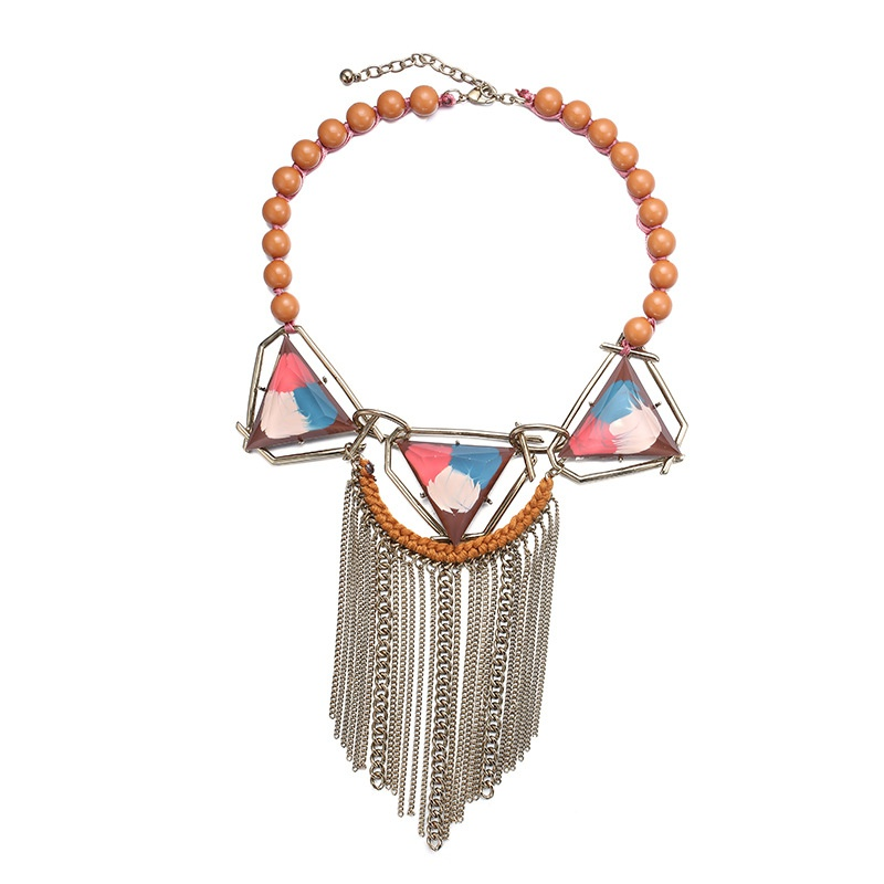 Plastic Fashion Geometric necklace  (Mixed color) NHTF0072-Mixed-color