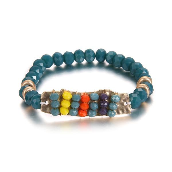 Alloy Fashion Geometric bracelet  (Dumb Alloy + Blue) NHTF0074-Dumb-Alloy-Blue