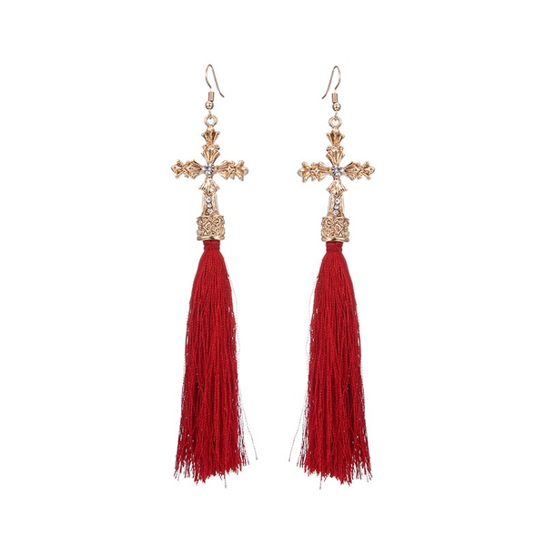 Alloy Fashion Cross earring  (Alloy + Red) NHTF0076-Alloy-Red