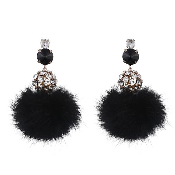 Alloy Fashion Geometric earring  (Alloy + Black) NHTF0081-Alloy-Black