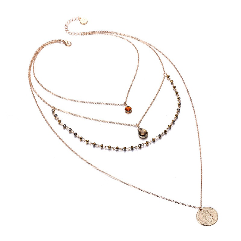 Alloy Fashion Geometric necklace  Alloy + coffee color NHTF0087Alloycoffeecolor