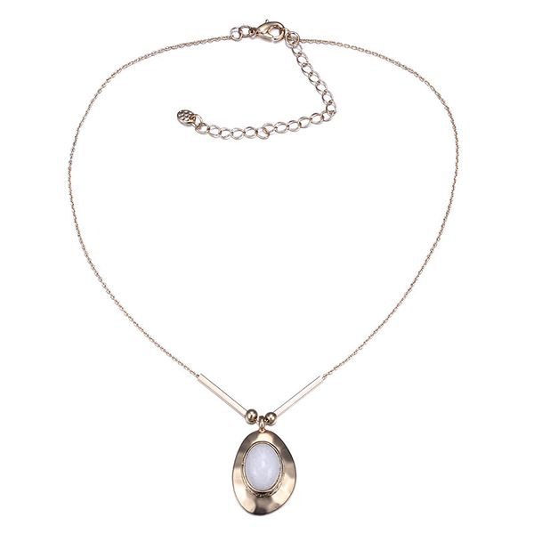 Alloy Fashion Geometric necklace  (Dumb alloy + white) NHTF0092-Dumb-alloy-white