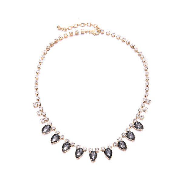 Alloy Fashion Geometric necklace  (Alloy + Gray) NHTF0095-Alloy-Gray