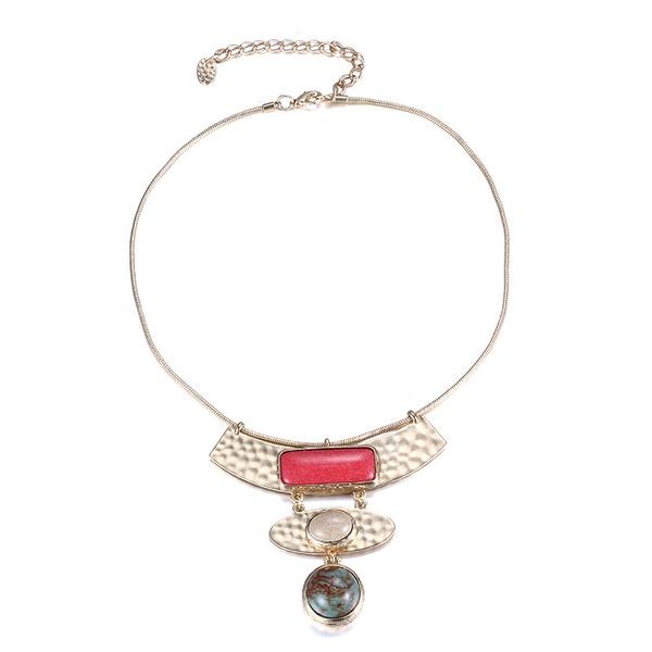 Alloy Fashion Geometric necklace  (Dumb alloy + color mixing) NHTF0105-Dumb-alloy-color-mixing
