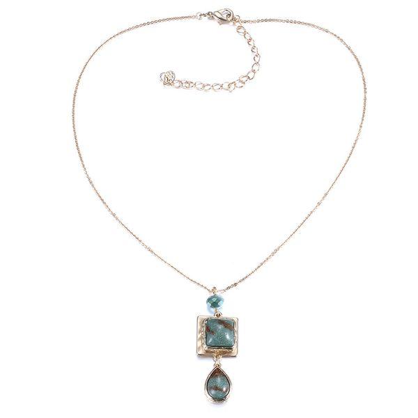 Alloy Fashion Geometric necklace  (Alloy + Green) NHTF0106-Alloy-Green