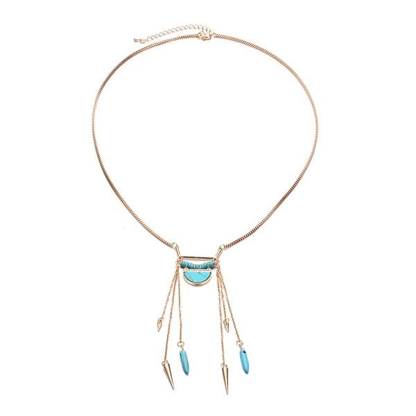 Alloy Fashion Geometric necklace  (Alloy + blue) NHTF0113-Alloy-blue
