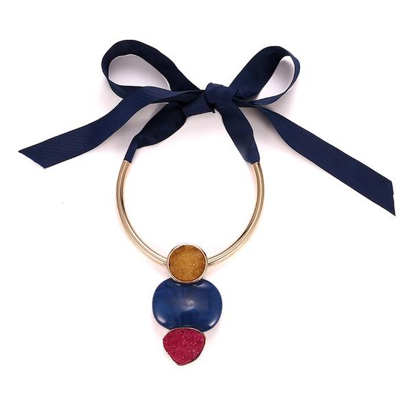 Plastic Fashion Geometric necklace  (Alloy + blue) NHTF0114-Alloy-blue
