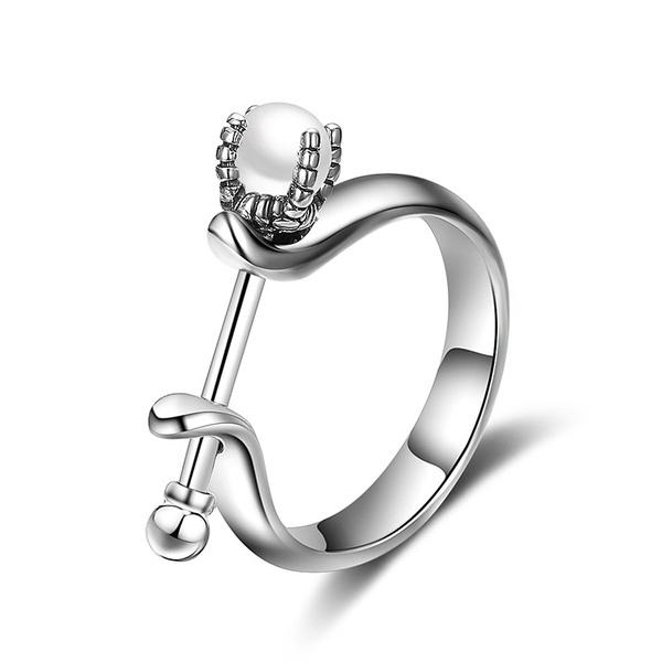 Alloy Korea Flowers Ring  (Alloy + White US6) NHTF0117-Alloy-White-US6