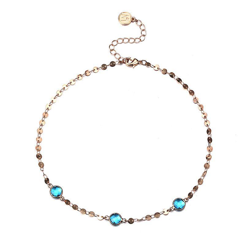 Alloy Fashion Geometric necklace  (Alloy + blue) NHTF0118-Alloy-blue