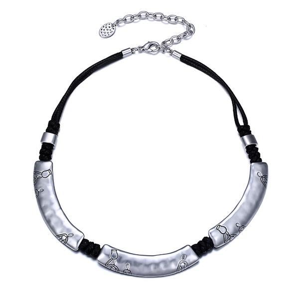 Alloy Fashion Geometric necklace  (Ancient alloy + black) NHTF0123-Ancient-alloy-black