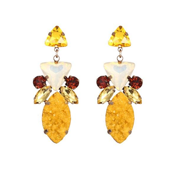 Alloy Fashion Geometric earring  (Alloy + Yellow) NHTF0128-Alloy-Yellow