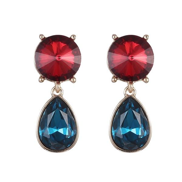 Alloy Fashion Geometric earring  (Red + Royal Blue) NHTF0132-Red-Royal-Blue