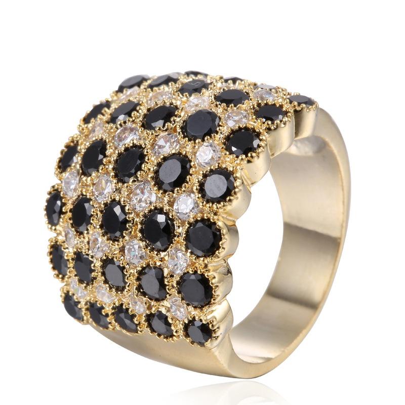 Copper Fashion Geometric Ring  (Alloy + Black US7) NHTF0136-Alloy-Black-US7