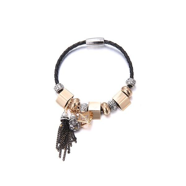 Alloy Fashion Geometric bracelet  (Alloy + Black) NHTF0139-Alloy-Black