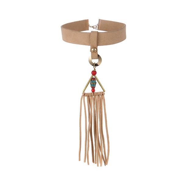 Leather Fashion Geometric necklace  (Alloy + Beige) NHTF0142-Alloy-Beige