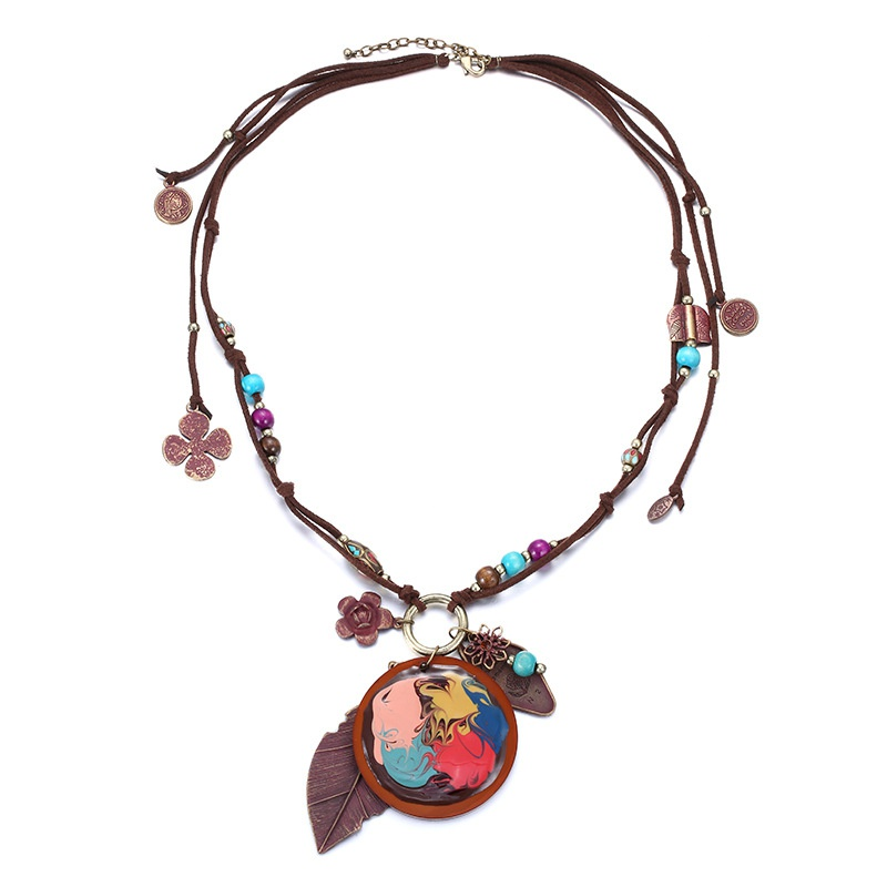 Alloy Fashion Geometric necklace  (Ancient alloy + coffee) NHTF0146-Ancient-alloy-coffee