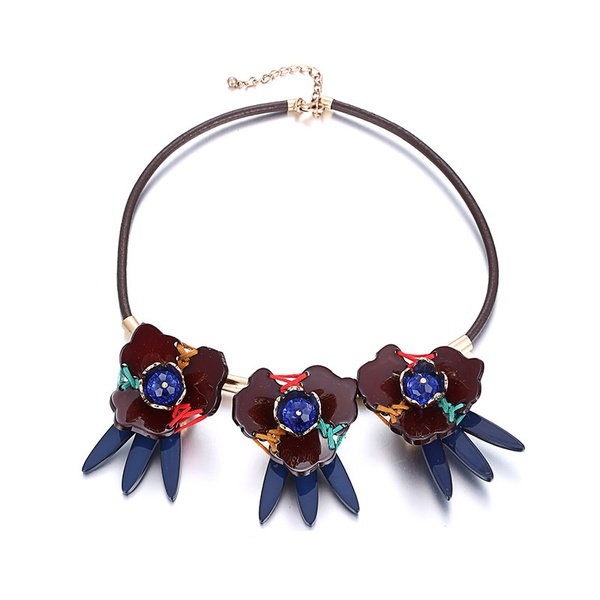 Acrylic Fashion Flowers necklace  (color) NHTF0150-color