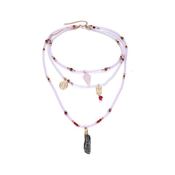 Alloy Bohemia Geometric necklace  (Alloy + pink) NHTF0151-Alloy-pink
