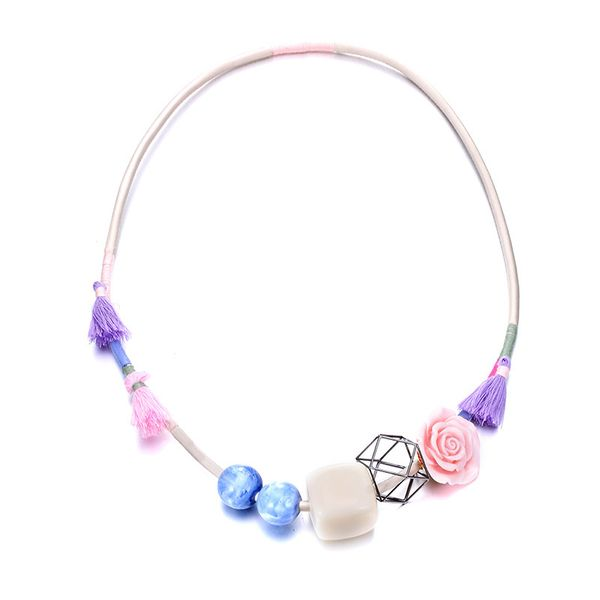 Plastic Fashion Geometric necklace  (Color mixing) NHTF0154-Color-mixing