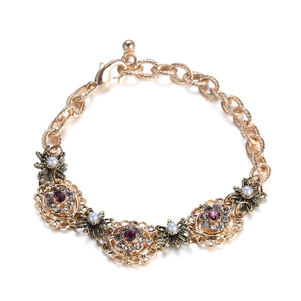Alloy Fashion Flowers bracelet  (KC Alloy) NHTF0158-KC-Alloy