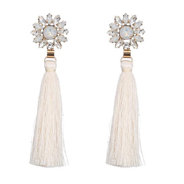 Alloy Bohemia Flowers earring  (Alloy + white) NHTF0171-Alloy-white