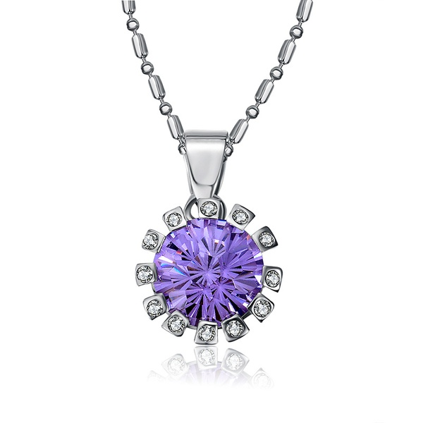 Alloy Korea Flowers necklace  (White K+ Purple) NHTF0174-White-K+-Purple