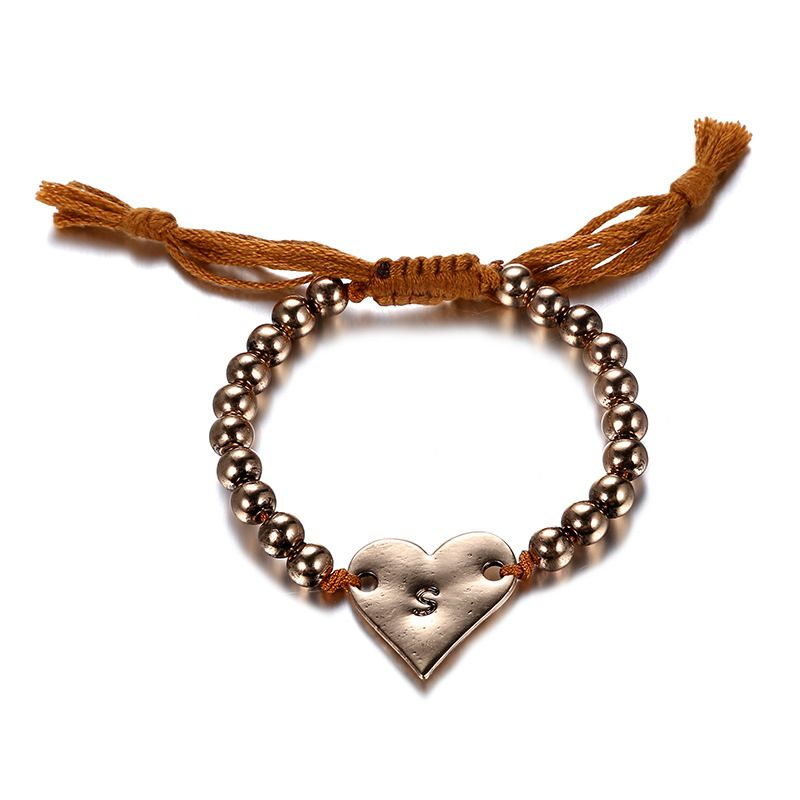 Alloy Bohemia Sweetheart bracelet  (Old Alloy + Coffee Color) NHTF0177-Old-Alloy-Coffee-Color