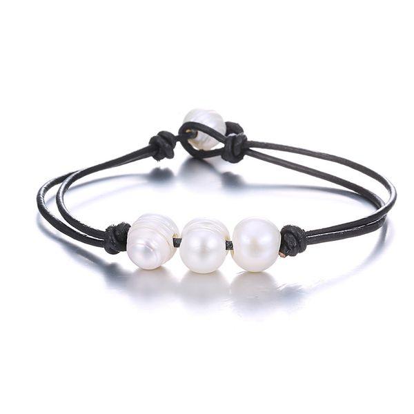 Beads Simple Geometric bracelet  (Black + white) NHTF0183-Black-white