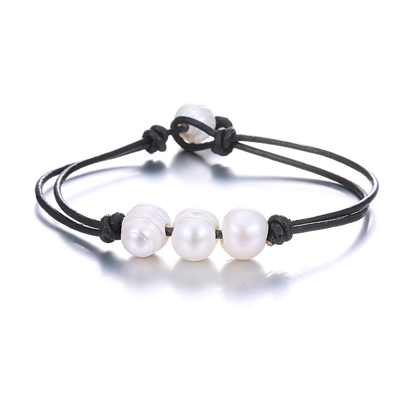 Beads Simple Geometric bracelet  (Black + white) NHTF0183-Black-white