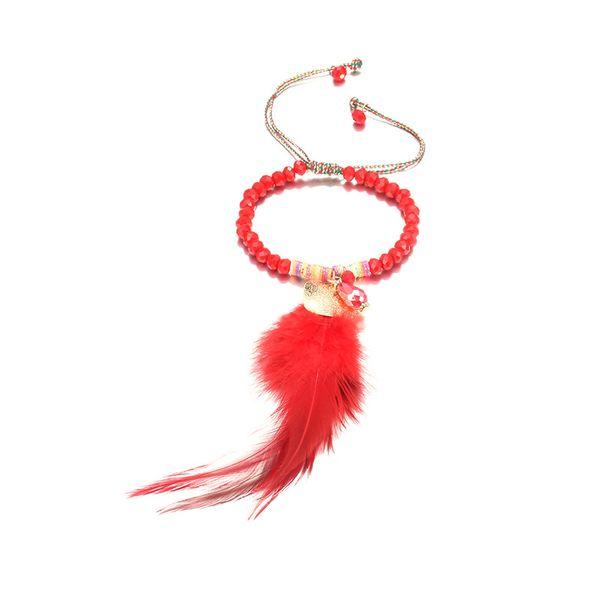 Alloy Fashion Geometric bracelet  (Alloy + Red) NHTF0184-Alloy-Red