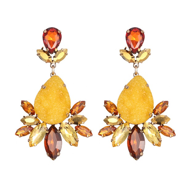 Alloy Fashion Geometric earring  (Alloy + Yellow) NHTF0185-Alloy-Yellow