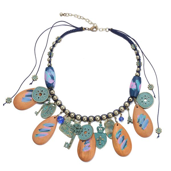 Alloy Fashion Geometric necklace  (Color mixing) NHTF0188-Color-mixing