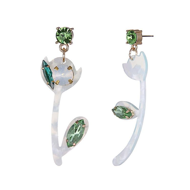 Alloy Fashion Flowers earring  Alloy + Green NHTF0192AlloyGreen